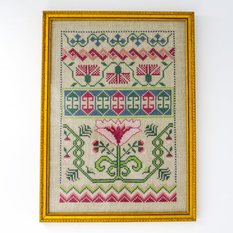 "Vintage ""Floral"" Framed Needlepoint Sampler"