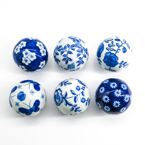 Blue and White Carpet Balls - Set of 6