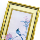 Vintage Chinoiserie Bird Prints in Bamboo Frame
