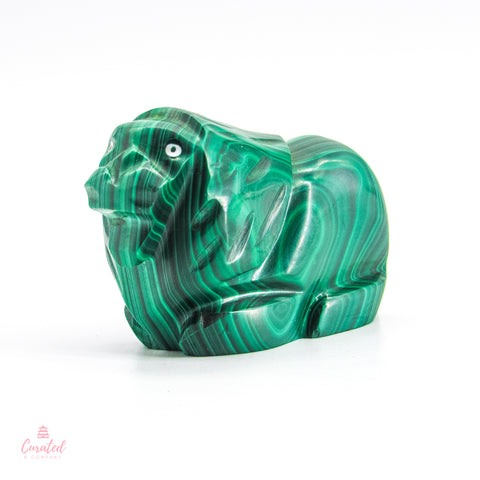 100% Natural Hand Carved Malachite Lion
