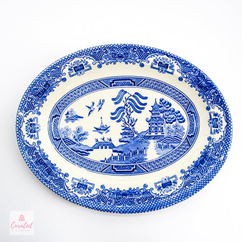 Vintage Blue Willow Oval Platter