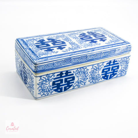 Blue & White Double Happiness Lidded Box