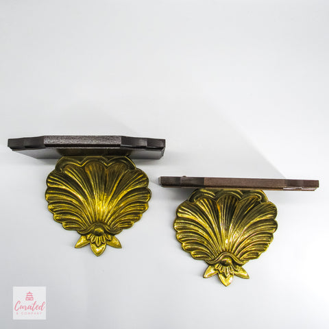 Regency Brass & Wooden Wall Brackets