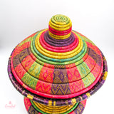 Vintage Egyptian Woven Covered Basket
