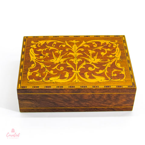 Burlwood Scrollwork Decorative Box