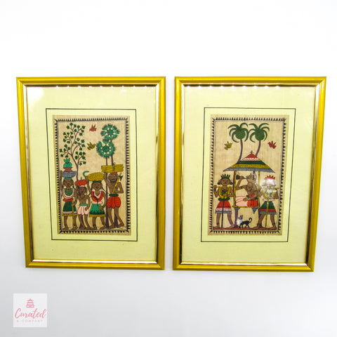 Framed Antique Tribal Prints - Pair