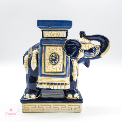 """Jazzy Blue"" Elephant Bookend/Stand"