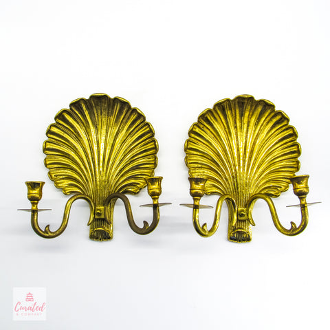 Brass Regency Shell Candle Wall Sconce - Pair