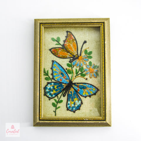 Vintage Framed Butterfly Bead Art
