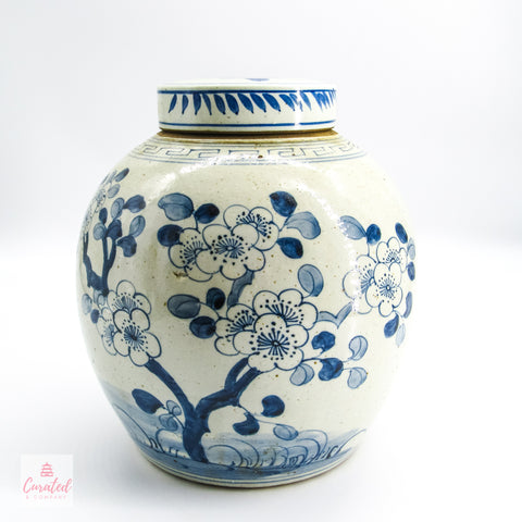 Blue and White Cherry Blossom Lidded Jar