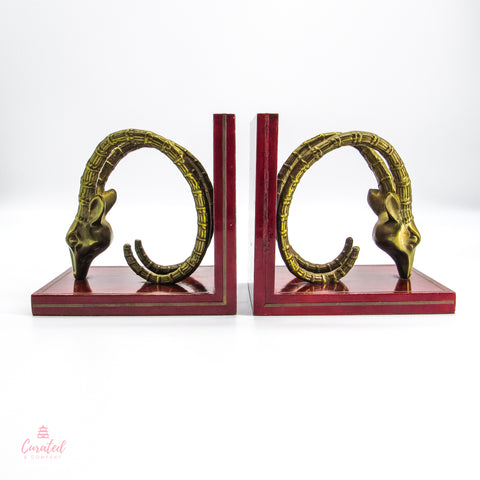 Brass Ibex bookends