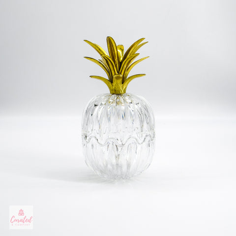 Brass & Glass Pineapple Covered Dish