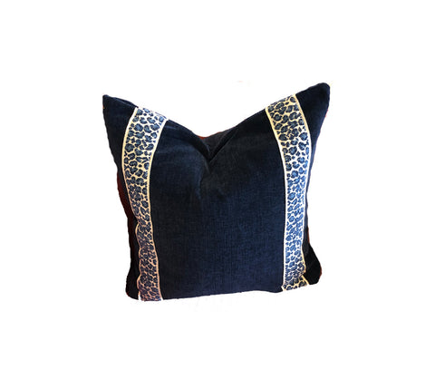 Textured Blue Leopard Tape Trim Pillow