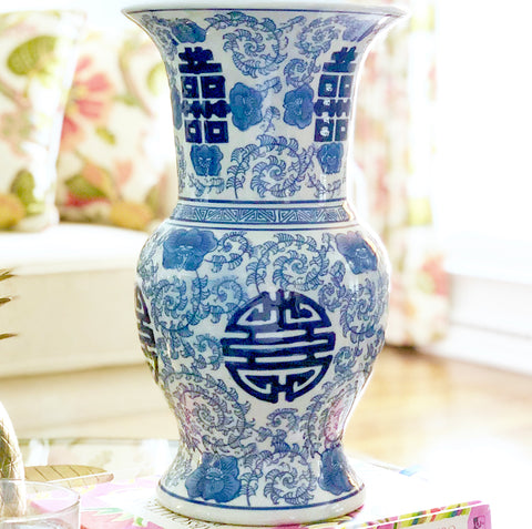 Large Blue & White Double Happiness Vase