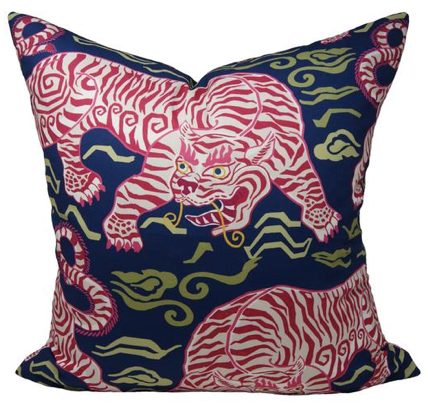 Tibetan Tiger Pillow in Navy