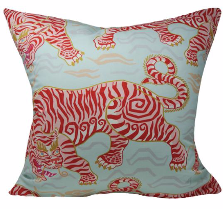 Tibetan Tiger Pillow in Aqua