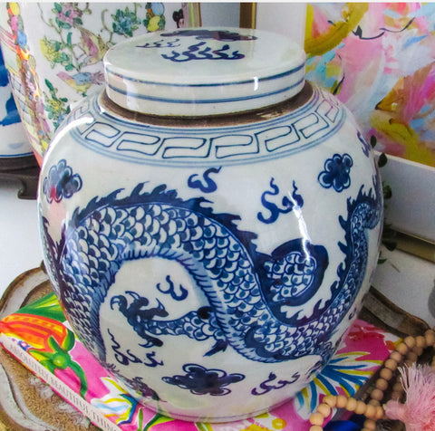 "9.5"" Reproduction Dragon Lidded Jar"