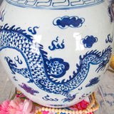 "12"" Antique Reproduction Dragon Lidded Jar"