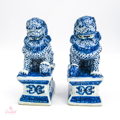 Blue & White Foo Dog Pair