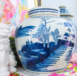 Reproduction Landscape Lidded Jar