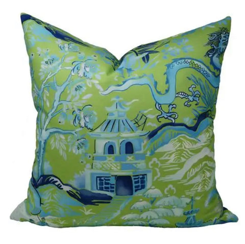 Blue & Green Garden of Chinoise Pillow