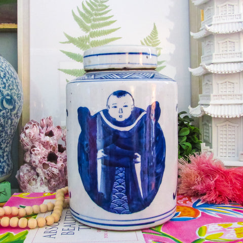 Blue & White Lidded Immortal Jar