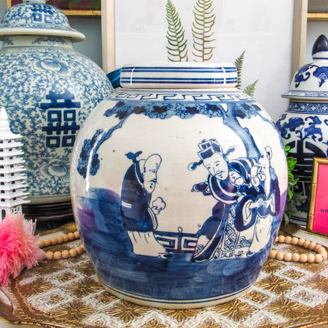 Blue & White Immortals Lidded Jar
