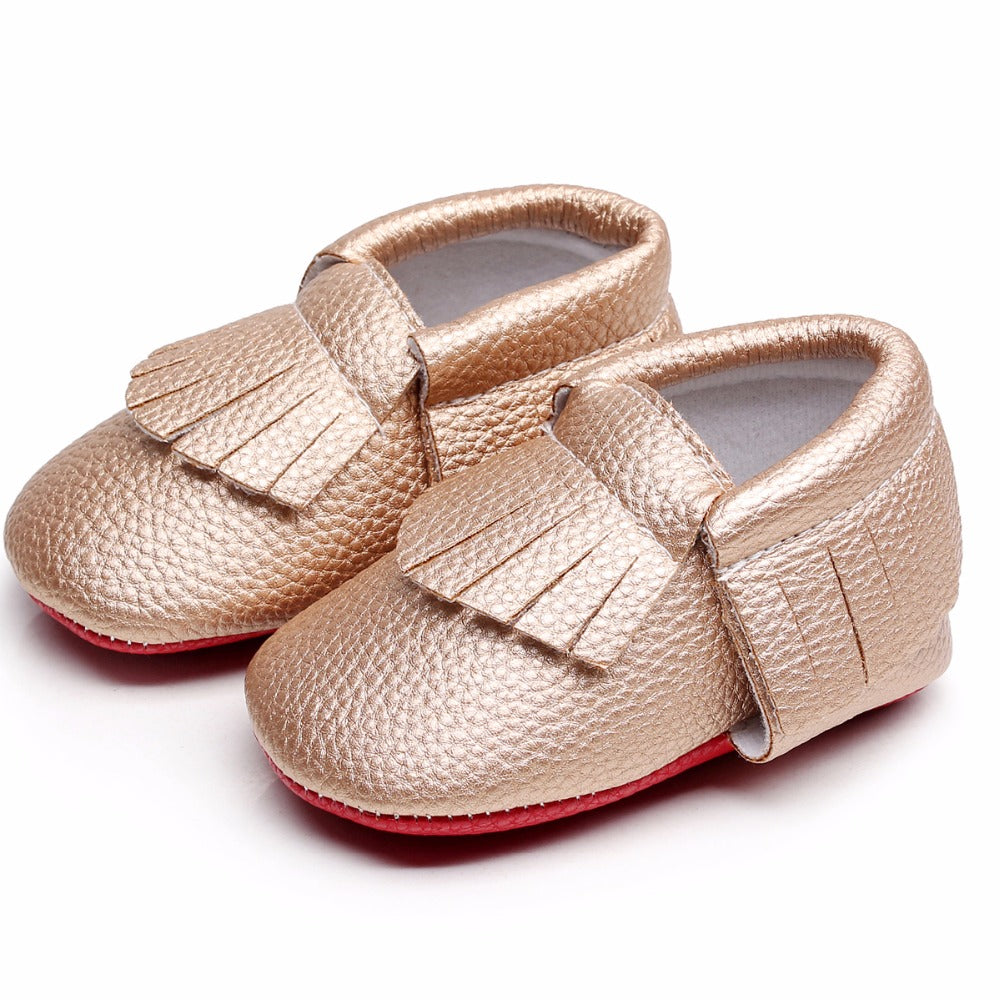 Newborn baby shoes - Gold, 0-6 months