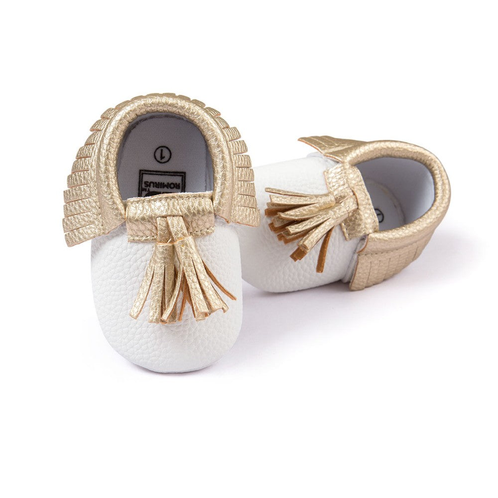 Newborn baby shoes - white, gold, 0-9 months