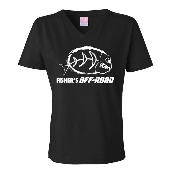 "Fisher's Off-Road ""White Logo"" Ladies V-Neck"