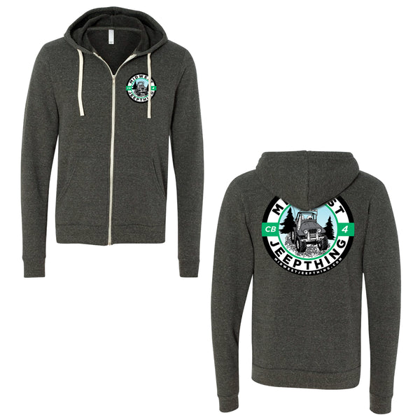 Midwest Jeepthing Triblend Sponge Fleece Full Zip Hoodie