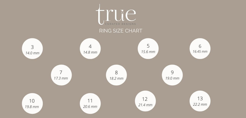 Ring Size Chart | True Curated Designs