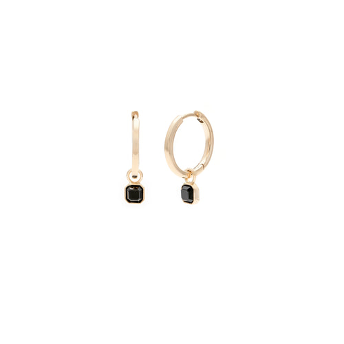 The August Diaries -  12mm Gold Deco Hoop Earrings & Optional Charm