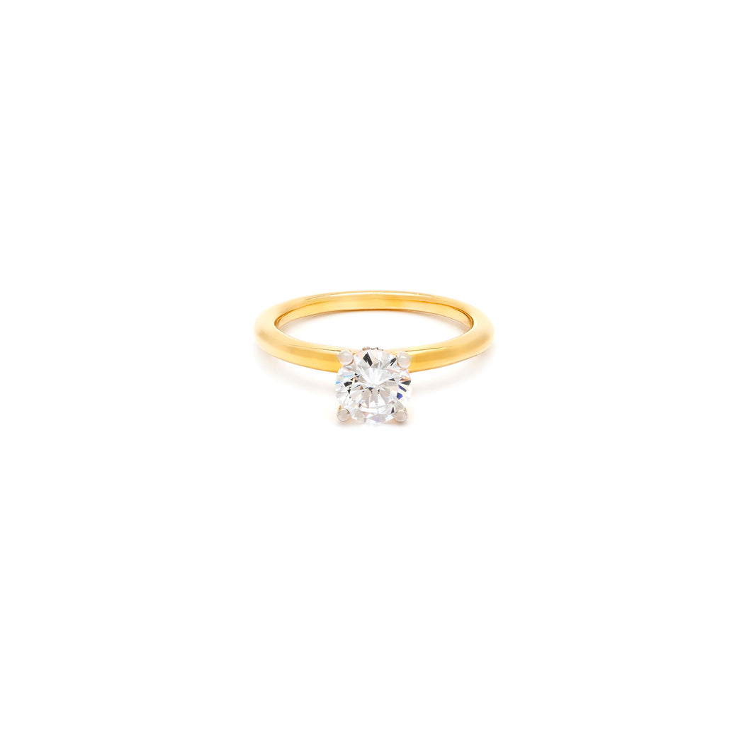 Round Solitaire Engagement Ring | Hidden Halo