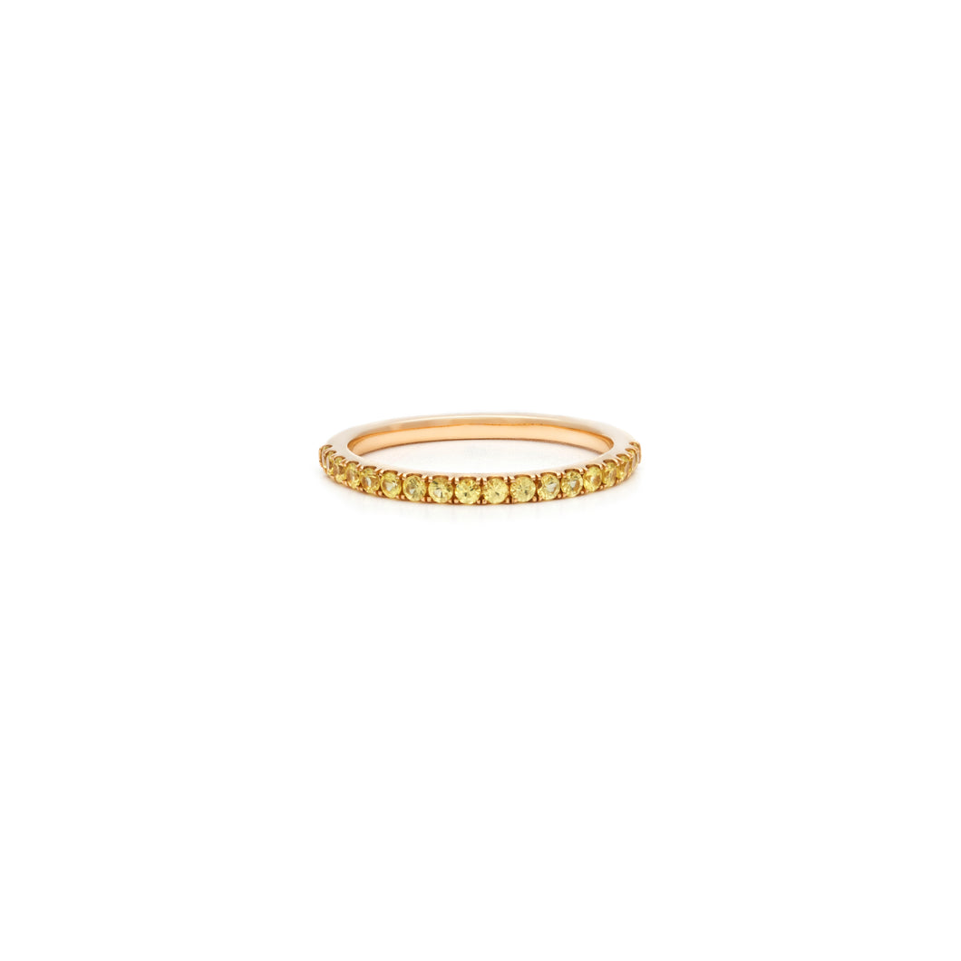 Mallorca Micro Pavé Stacking Ring - Yellow Sapphire