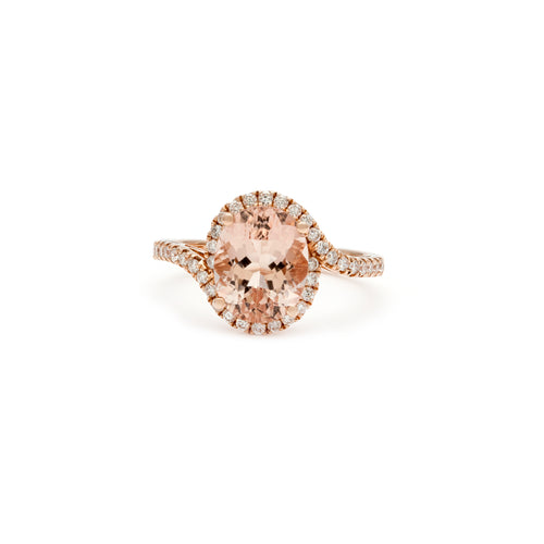 Goddess Morganite Halo Ring