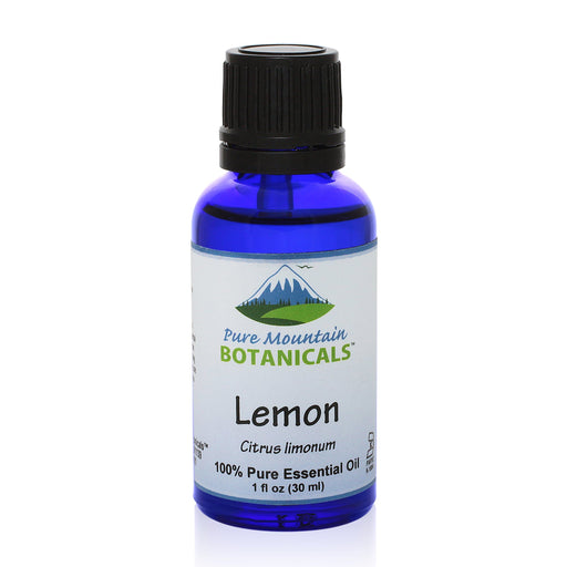 Pure Mountain Botanicals Essential Oil Lemon (Citrus Limonum) Essential Oil Full 1 oz (30 ml) Bottle - 100% Pure Natural & Kosher - 1 fl oz Bottle