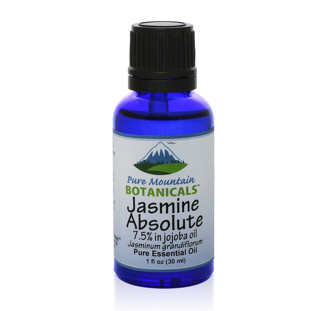 Pure Mountain Botanicals Essential Oil Jasmine Absolute (7.5% Jasminum Grandiflorum in Jojoba Oil) Essential Oil - 100% Pure Natural & Kosher - 1 fl oz Bottle