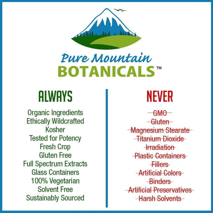 Pure Mountain Botanicals Supplement Holy Basil Capsules - 60 Organic Kosher Veggie Caps
