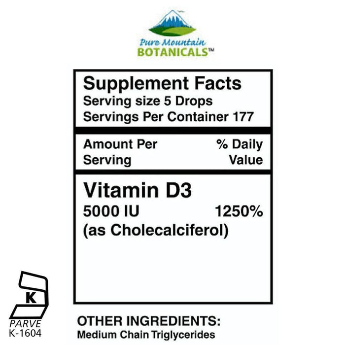 Pure Mountain Botanicals Vitamin Liquid Vitamin D Drops - Unflavored Kosher D3 Liquid - 5000 IU per serving