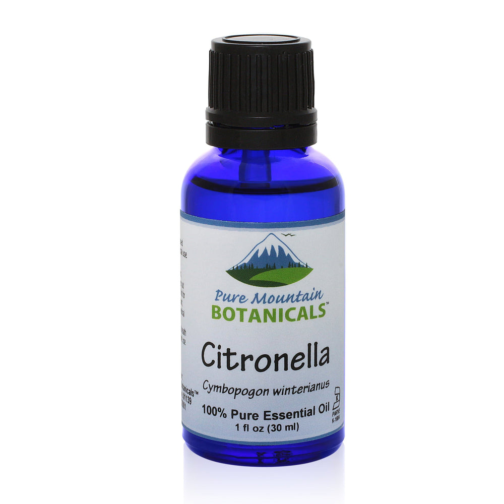 Pure Mountain Botanicals Essential Oil Citronella (Cymbopogon Winterianu) Essential Oil - 100% Pure Natural & Kosher - 1 fl oz Bottle