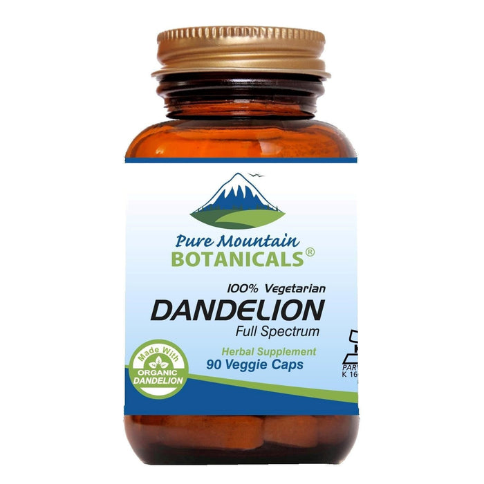 Pure Mountain Botanicals Supplement Dandelion Root Capsules - 90 Organic Kosher Veggie Caps