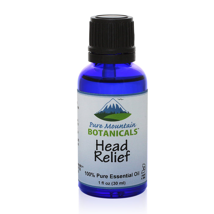 Pure Mountain Botanicals Essential Oil Head Relief Essential Oil Blend - 100% Pure Natural & Kosher - 1 fl oz Bottle