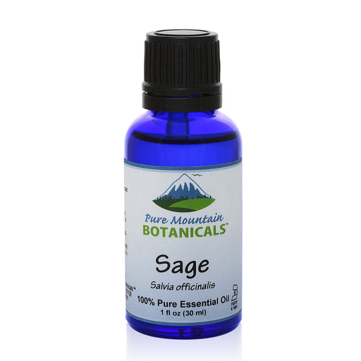 Pure Mountain Botanicals Essential Oil Sage (Salvia Officinalis) Essential Oil - 100% Pure Natural & Kosher - 1 fl oz Bottle