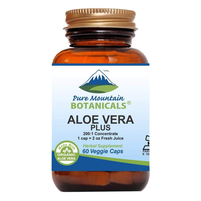 Pure Mountain Botanicals Supplement Aloe Vera Plus Capsules - 200:1 Extract - 60 Kosher Veggie Caps