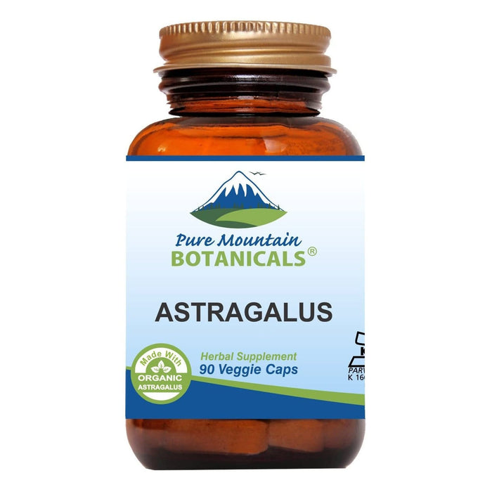 Pure Mountain Botanicals Supplement Astragalus Root Capsules - 90 Kosher Vegan Caps with 470mg Organic Astragalus