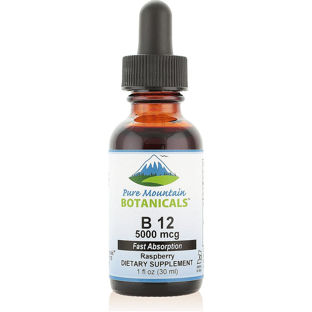 Pure Mountain Botanicals Vitamin B12 Vitamin 5000 mcg – Kosher B12 Drops in 1oz Bottle with Natural Berry Flavor