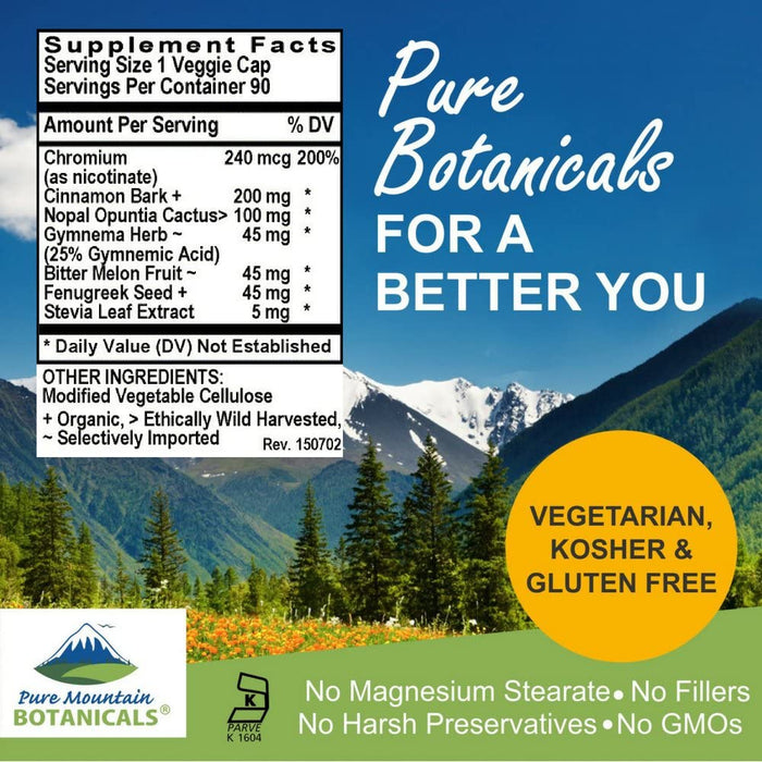 Pure Mountain Botanicals Supplement Blood Sugar Harmony with Organic Cinnamon - 90 Kosher Veggie Caps