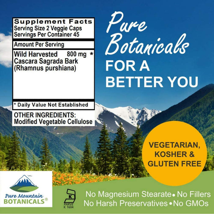 Pure Mountain Botanicals Supplement Cascara Sagrada Aged Bark Capsules - 90 Kosher Veggie Caps