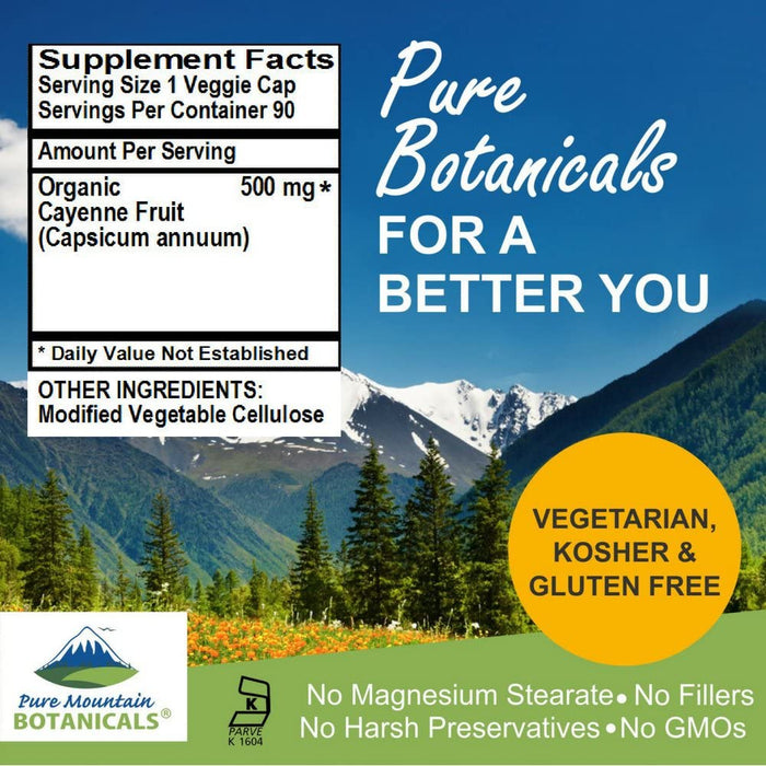 Pure Mountain Botanicals Supplement Cayenne Pepper Capsules - 90 Organic Kosher Veggie Caps